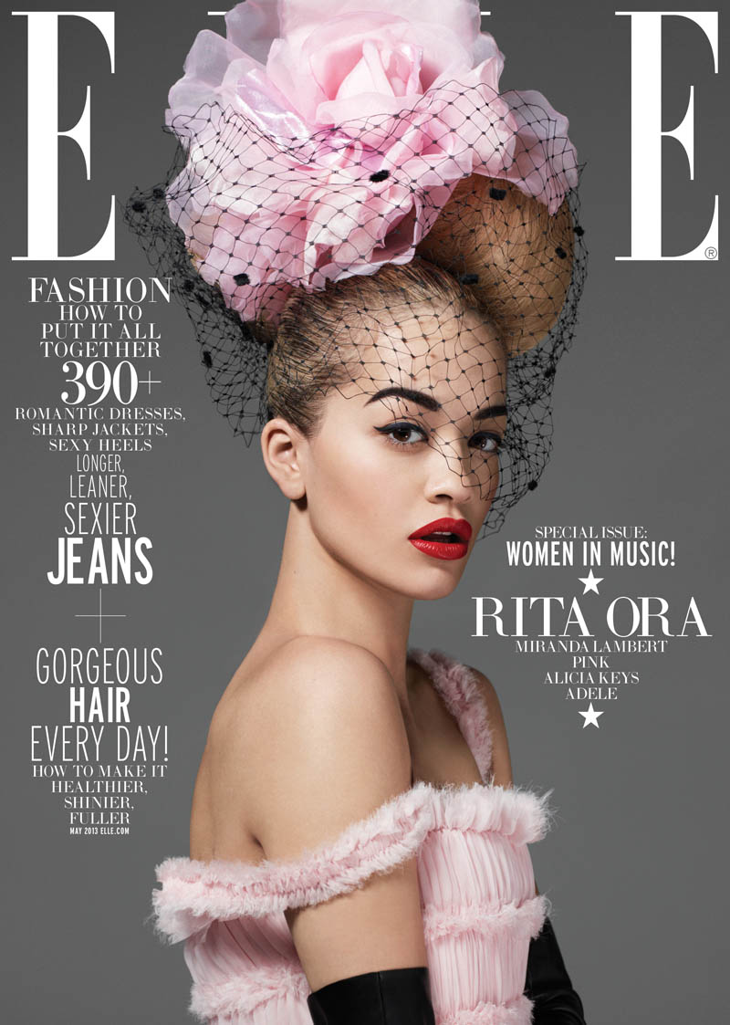 ELLE WIM May Rita Ora subcover 1 Rita Ora Gets Glam for Elle US May 2013 by Thomas Whiteside