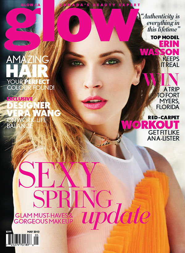 ErinWassonGlow1 Erin Wasson Poses in Glow Magazines May 2013 Cover Shoot