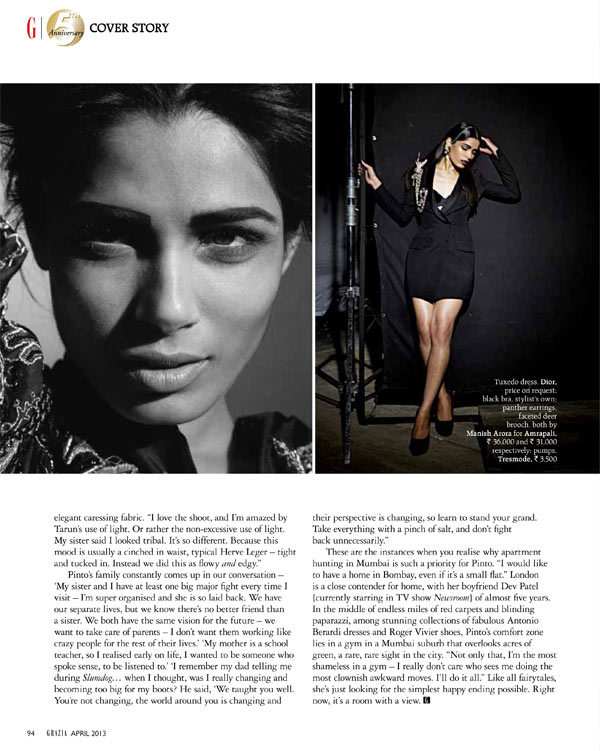 FriedaPintoGrazia5 Frieda Pinto is the Cover Star of Grazia Indias Fifth Anniversary Issue