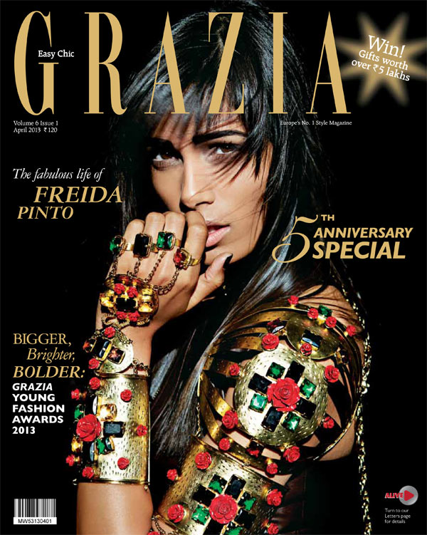 FriedaPintoGrazia7 Frieda Pinto is the Cover Star of Grazia Indias Fifth Anniversary Issue