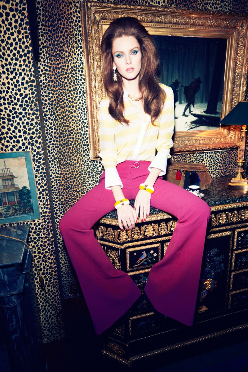 GraziaGermany70s2 Elena Ivanova Channels Her Inner Retro 70s Babe for Grazia Germany April 2013