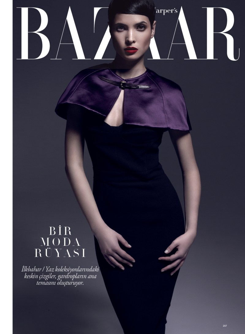 HanaaBazaarTurkey1 Hanaa Ben Abdesslem is Divine in Harpers Bazaar Turkeys April 2013 Cover Shoot