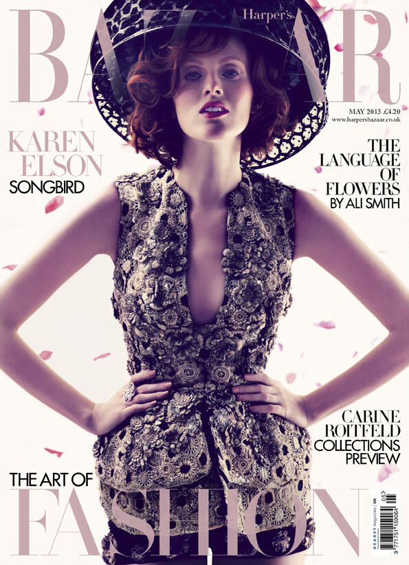 KarenElsonBazaar Karen Elson Graces Harpers Bazaar UK May 2013 Cover in Alexander McQueen