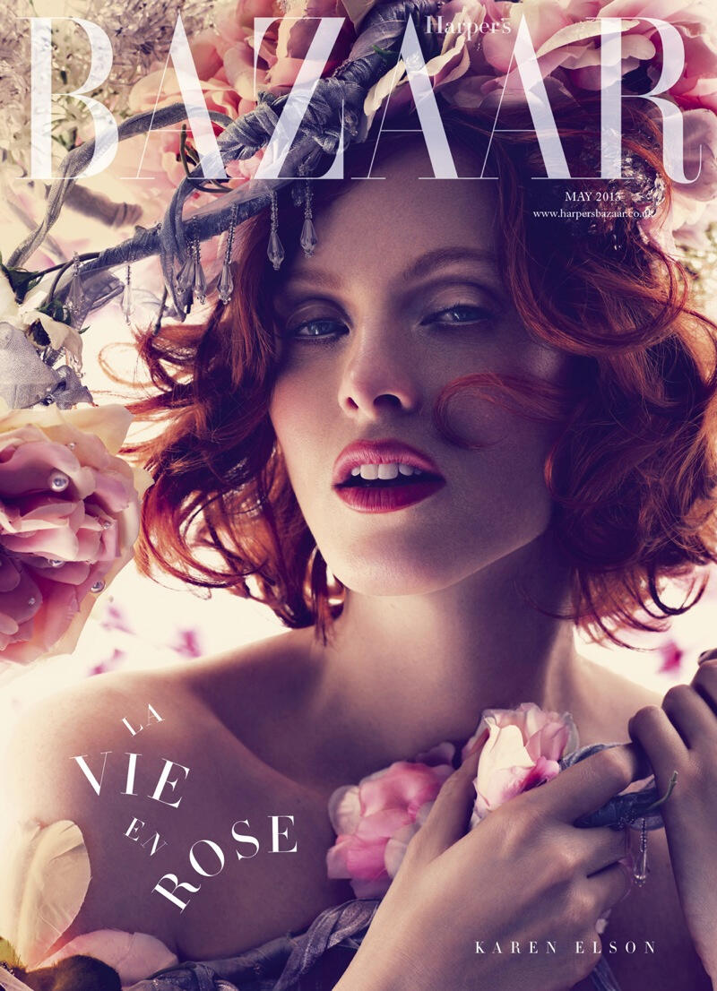 KarenElsonBazaar1 Karen Elson Graces Harpers Bazaar UK May 2013 Cover in Alexander McQueen