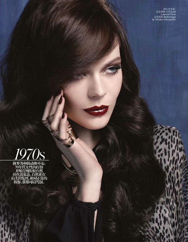 Kinga Rajzak Models Beauty Through the Decades for Vogue China's May Issue