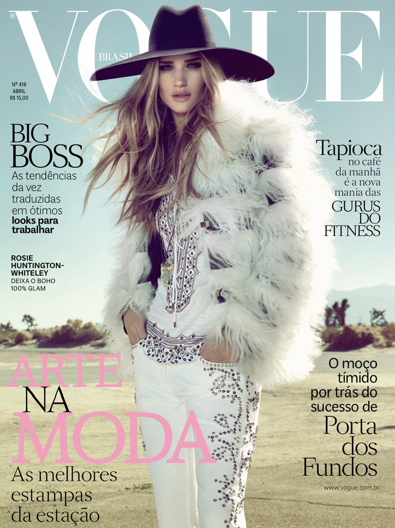 RosieVogueBrazil8 Rosie Huntington Whiteley is Pure Glamour in Vogue Brazils April 2013 Cover Shoot