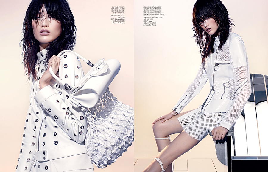 SHARIF VCO Leather 03 Sui He Dons All White Leather in Vogue China by Sharif Hamza