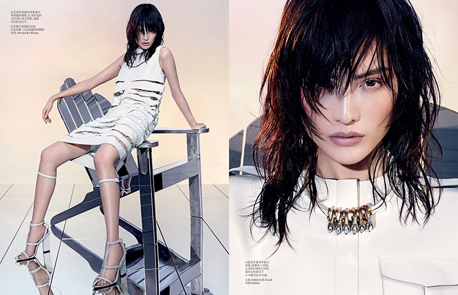 SHARIF VCO Leather 04 Sui He Dons All White Leather in Vogue China by Sharif Hamza