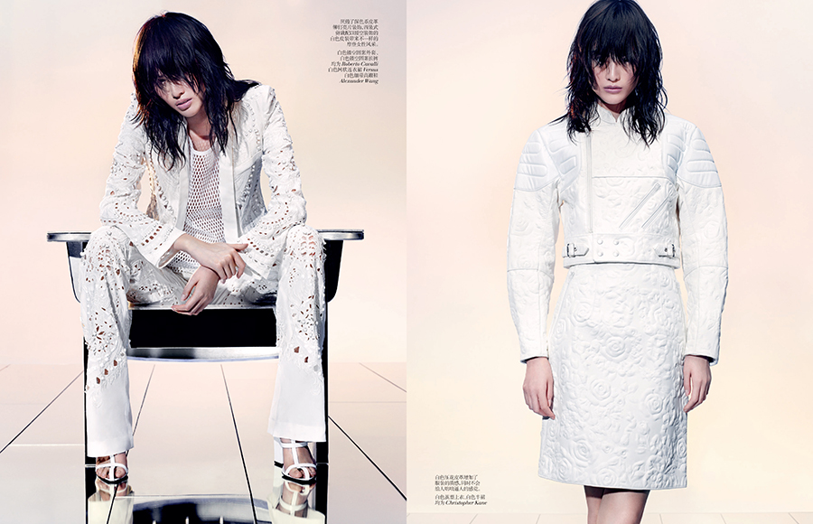 SHARIF VCO Leather 06 Sui He Dons All White Leather in Vogue China by Sharif Hamza
