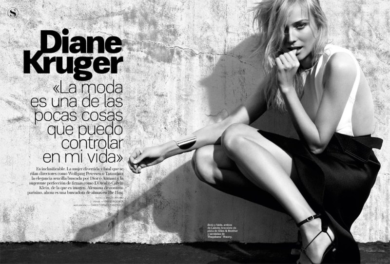 SModaDianeKruger1 Diane Kruger Works It for David Roemers Lens in S Moda April 2013