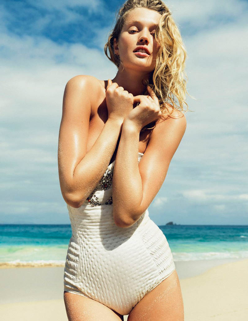 ToniGarrnMadame17 Toni Garrn Hits the Beach for Madame Figaro April 2013 Cover Story by Nico