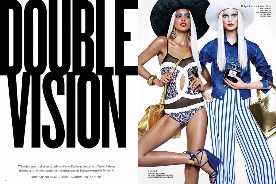 V82 SHARIF TEXT  copy Sharif Hamza Snaps Model Duos for V Magazines Double Vision Spread