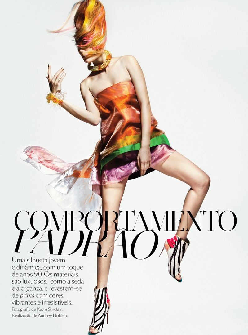 VoguePortugalAlla1 Alla Kostromicheva Has a Color Blast for Vogue Portugal May 2013 by Kevin Sinclair