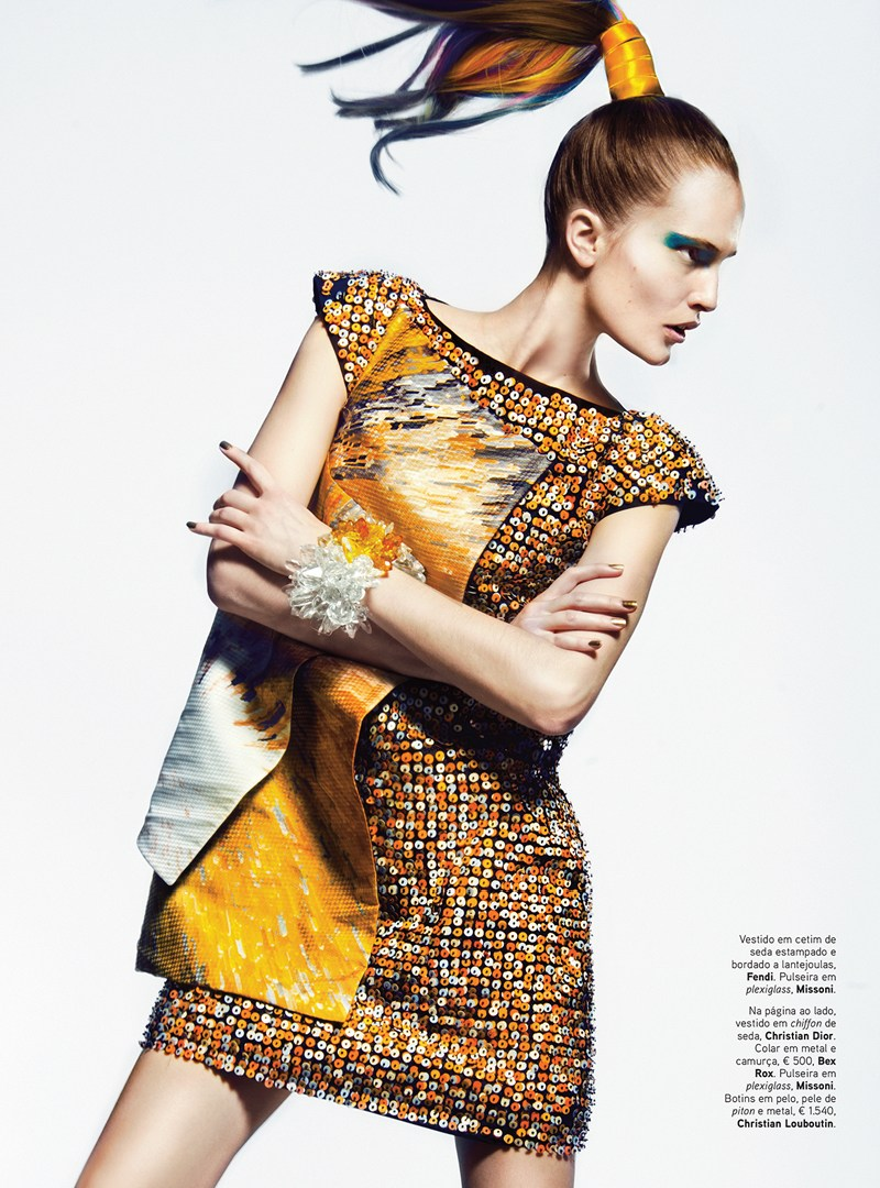 VoguePortugalAlla2 Alla Kostromicheva Has a Color Blast for Vogue Portugal May 2013 by Kevin Sinclair