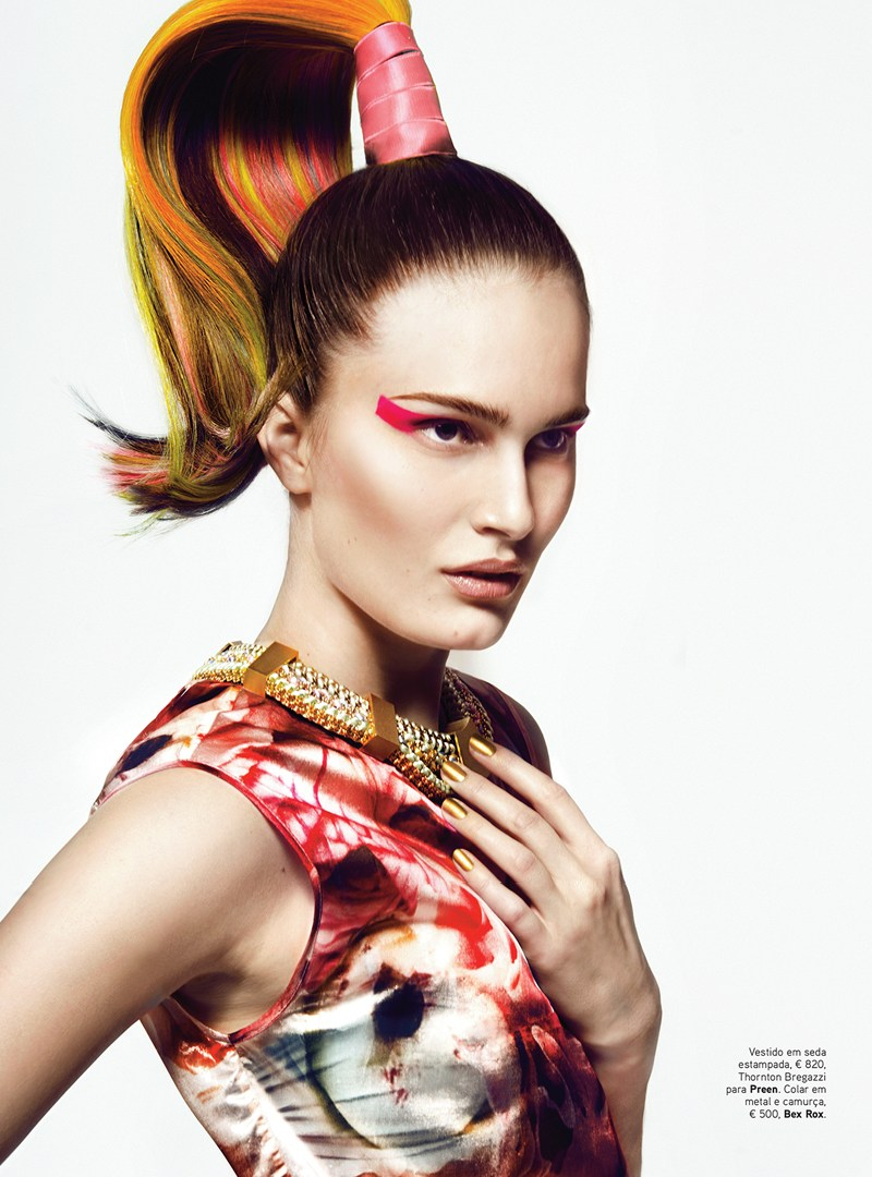 VoguePortugalAlla3 Alla Kostromicheva Has a Color Blast for Vogue Portugal May 2013 by Kevin Sinclair