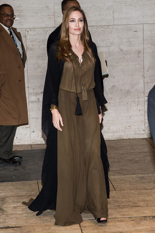angelina saint laurent2 Angelina Jolie Dons Saint Laurent for the 4th Annual Women in the World Summit