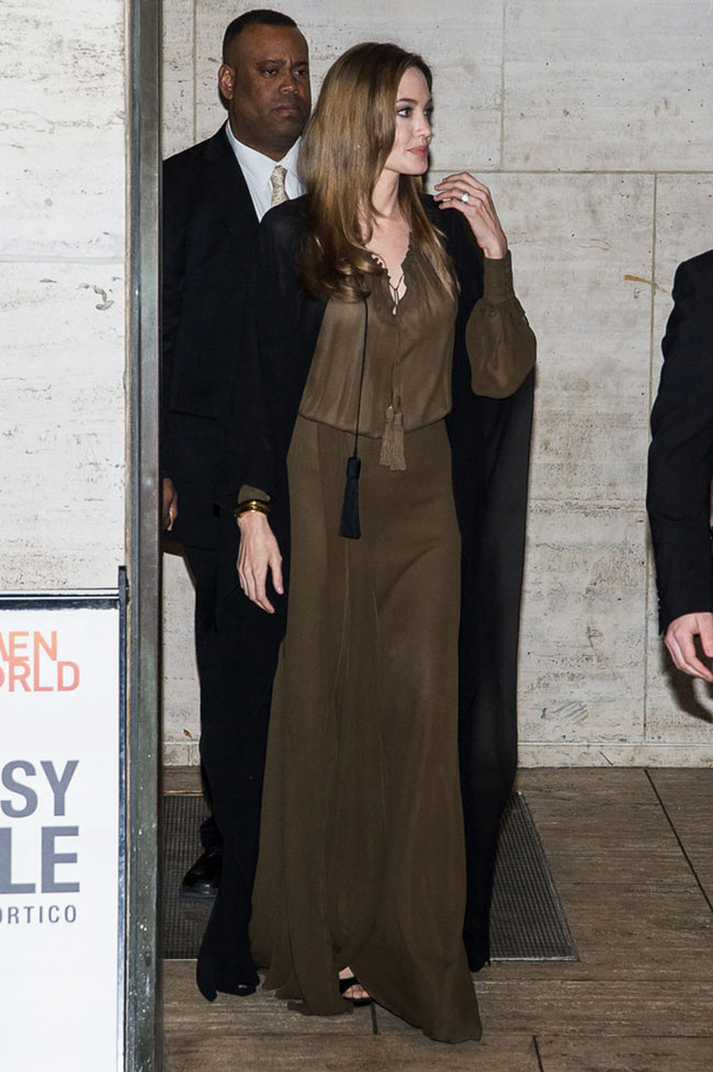 angelina saint laurent3 Angelina Jolie Dons Saint Laurent for the 4th Annual Women in the World Summit