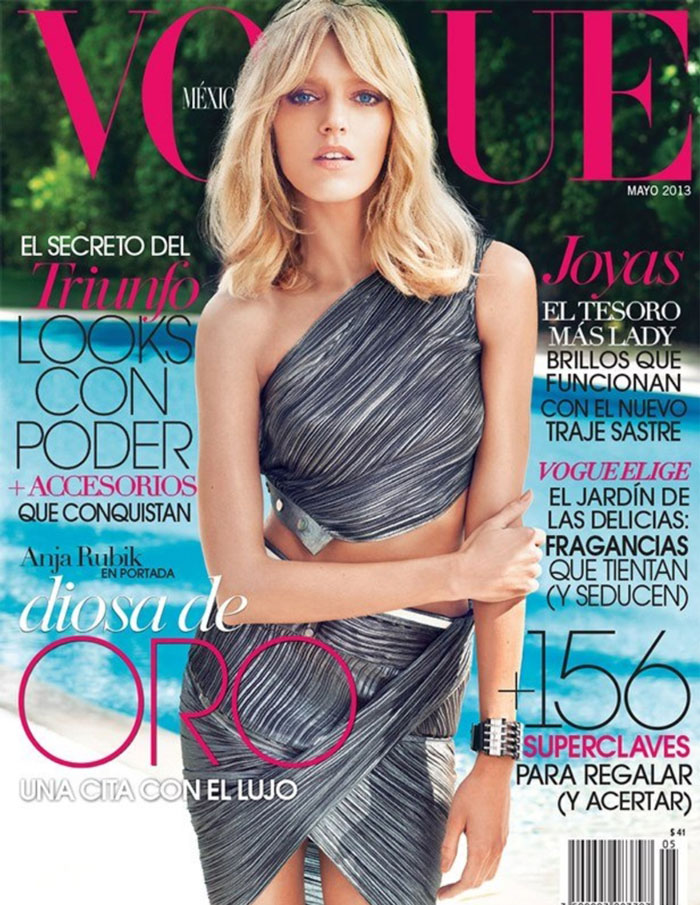 anja rubik vogue mexico cover Anja Rubik is a Metallic Goddess for Vogue Mexico May 2013 Cover