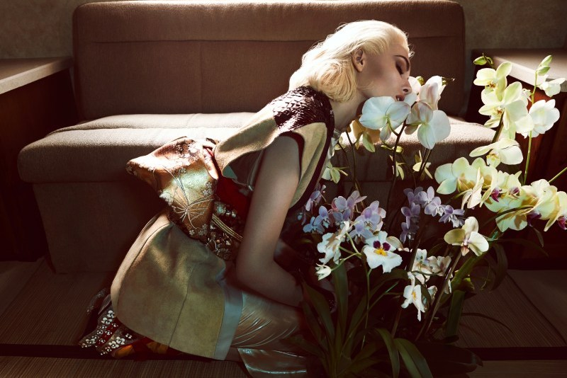 Nadja Bender Dons Ornate Looks for Vogue Japan April 2013 by Camilla Akrans