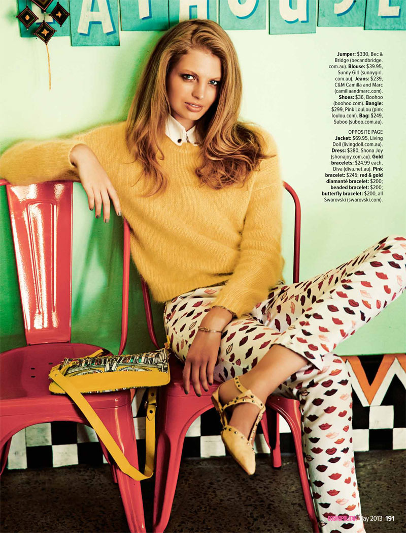 cosmoprints2 Evgenia Sizanyuk Poses for Steven Chee in Cosmopolitan Australia May 2013