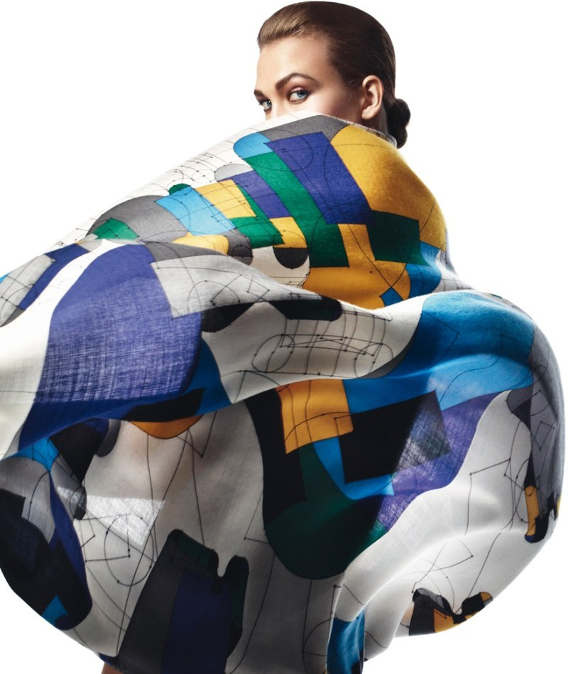 david sims hermes1 Karlie Kloss Gets Wrapped in Scarves for Hermès S/S 2013 Catalogue by David Sims