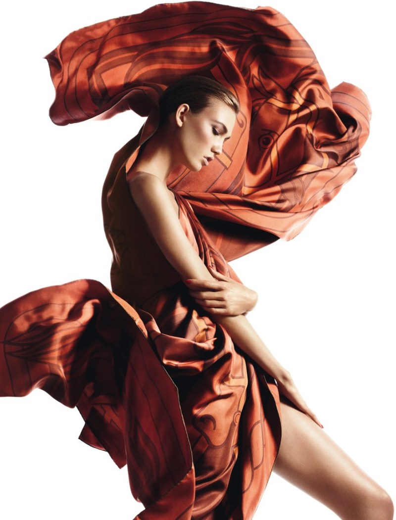 david sims hermes10 Karlie Kloss Gets Wrapped in Scarves for Hermès S/S 2013 Catalogue by David Sims