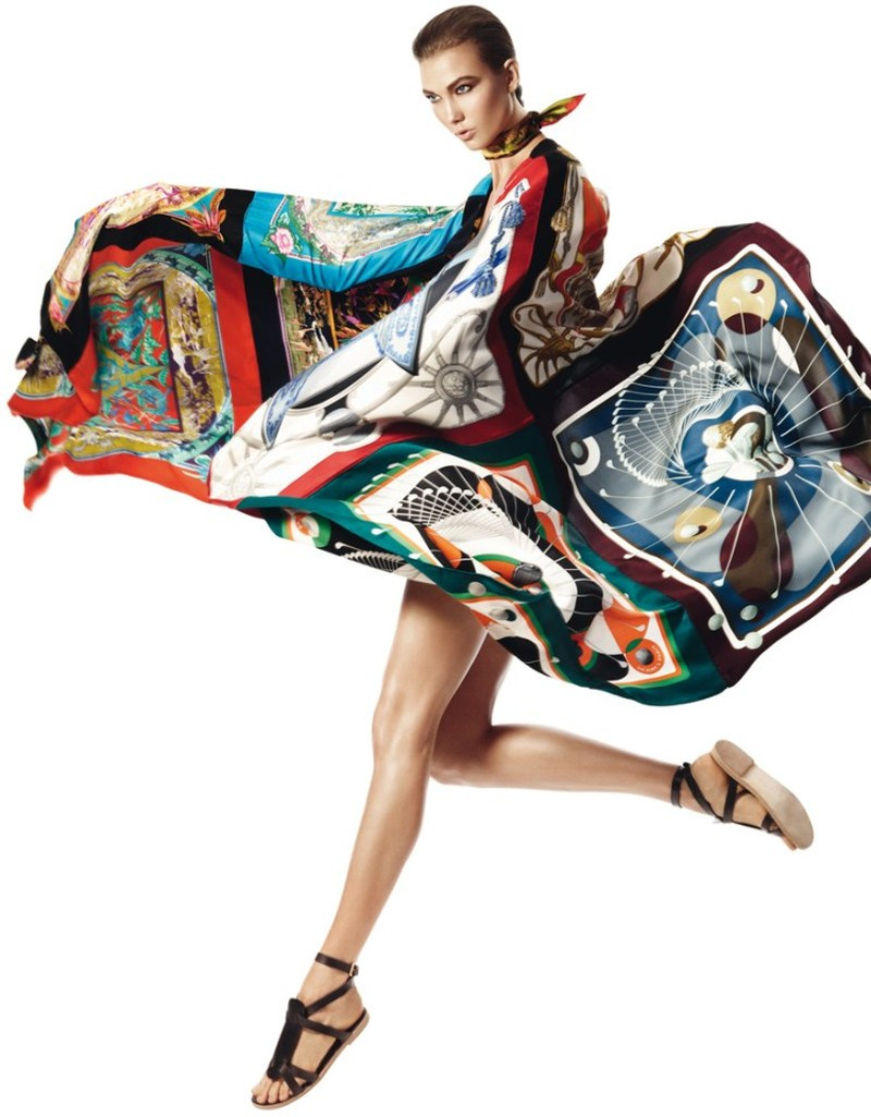 david sims hermes12 Karlie Kloss Gets Wrapped in Scarves for Hermès S/S 2013 Catalogue by David Sims