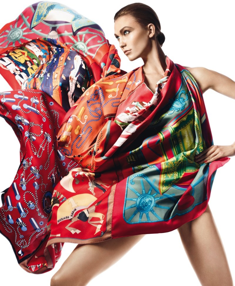 david sims hermes2 Karlie Kloss Gets Wrapped in Scarves for Hermès S/S 2013 Catalogue by David Sims