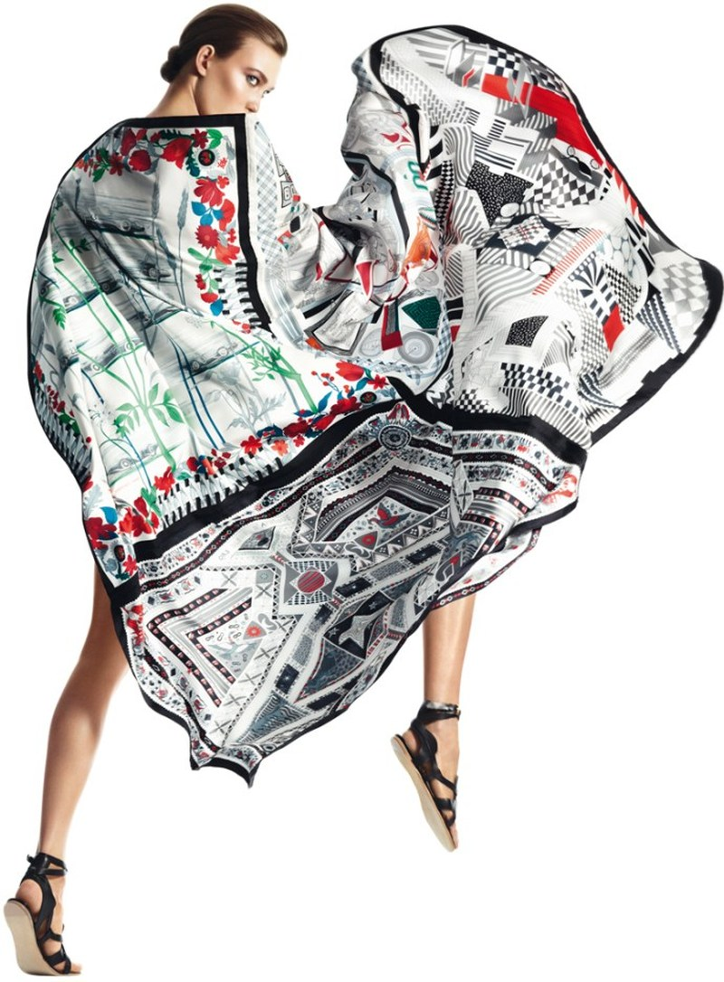 david sims hermes3 Karlie Kloss Gets Wrapped in Scarves for Hermès S/S 2013 Catalogue by David Sims