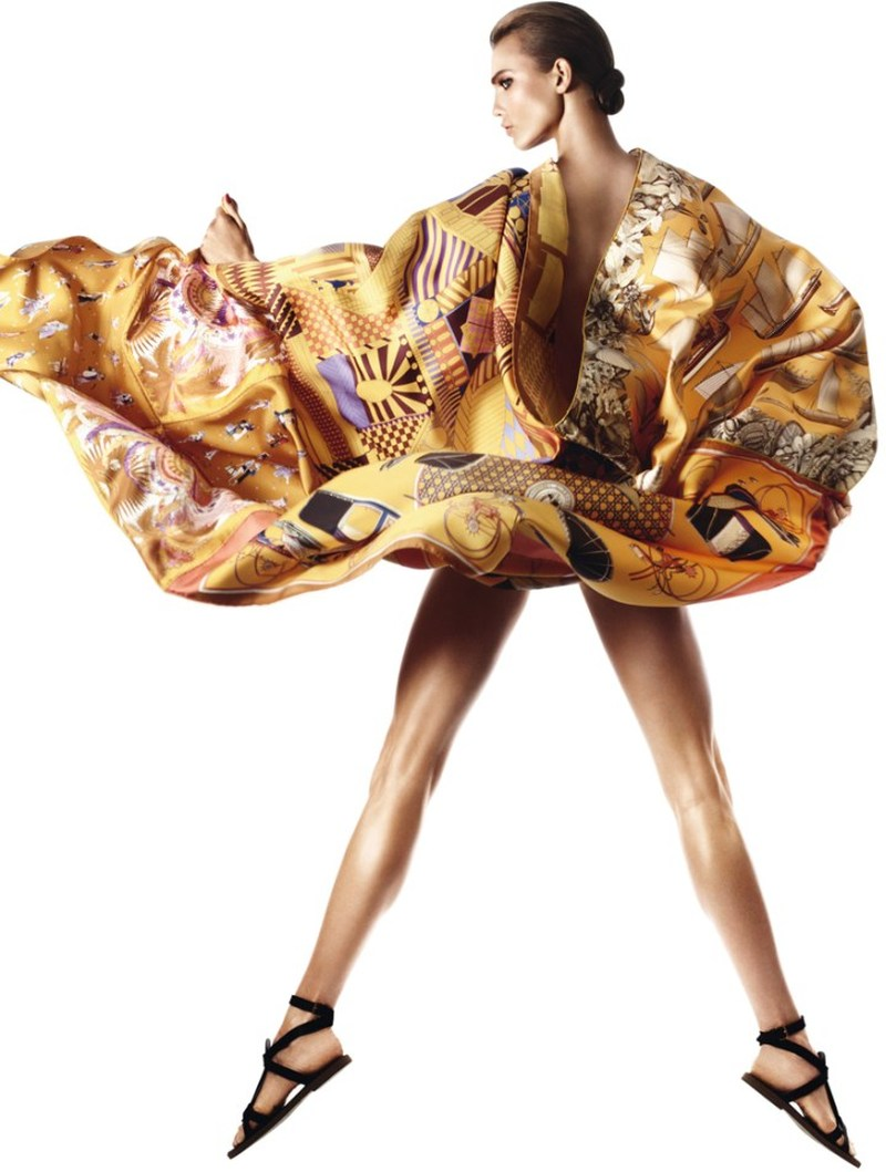 Karlie Kloss Gets Wrapped in Scarves for Hermès S/S 2013 Catalogue by David Sims