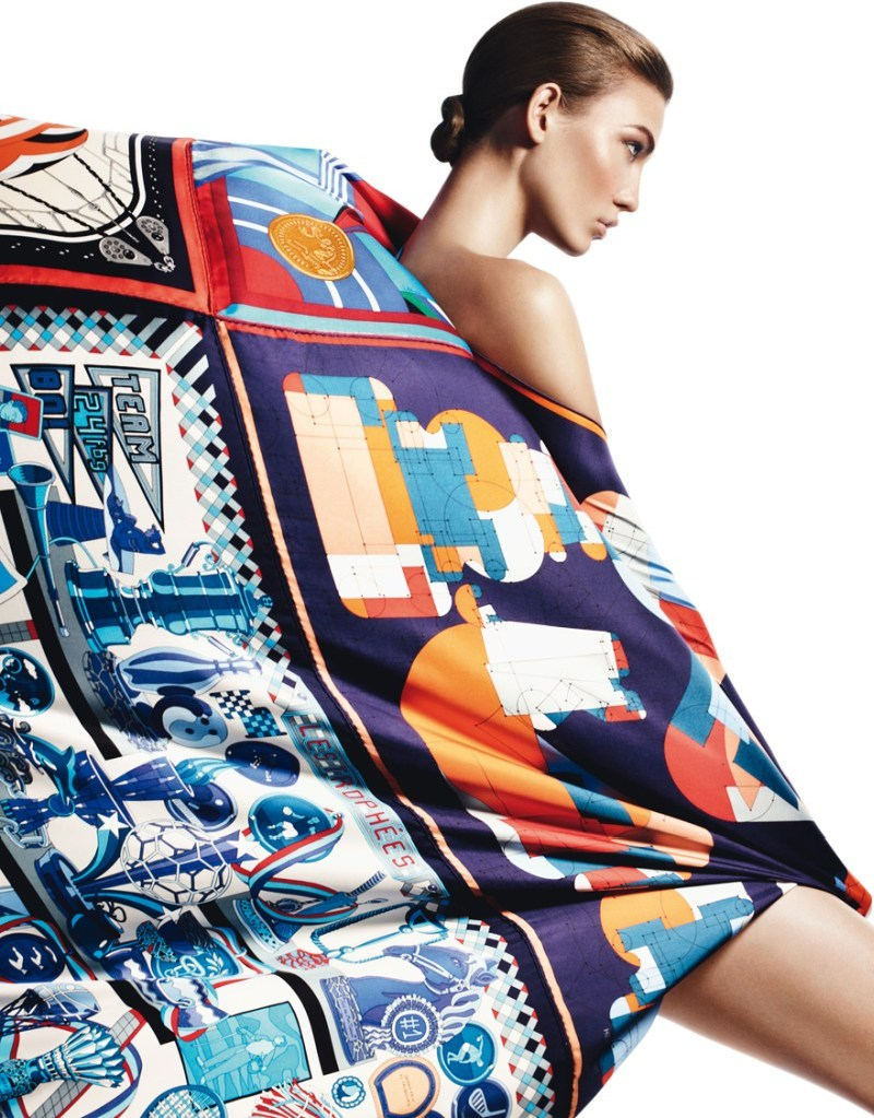 david sims hermes5 Karlie Kloss Gets Wrapped in Scarves for Hermès S/S 2013 Catalogue by David Sims