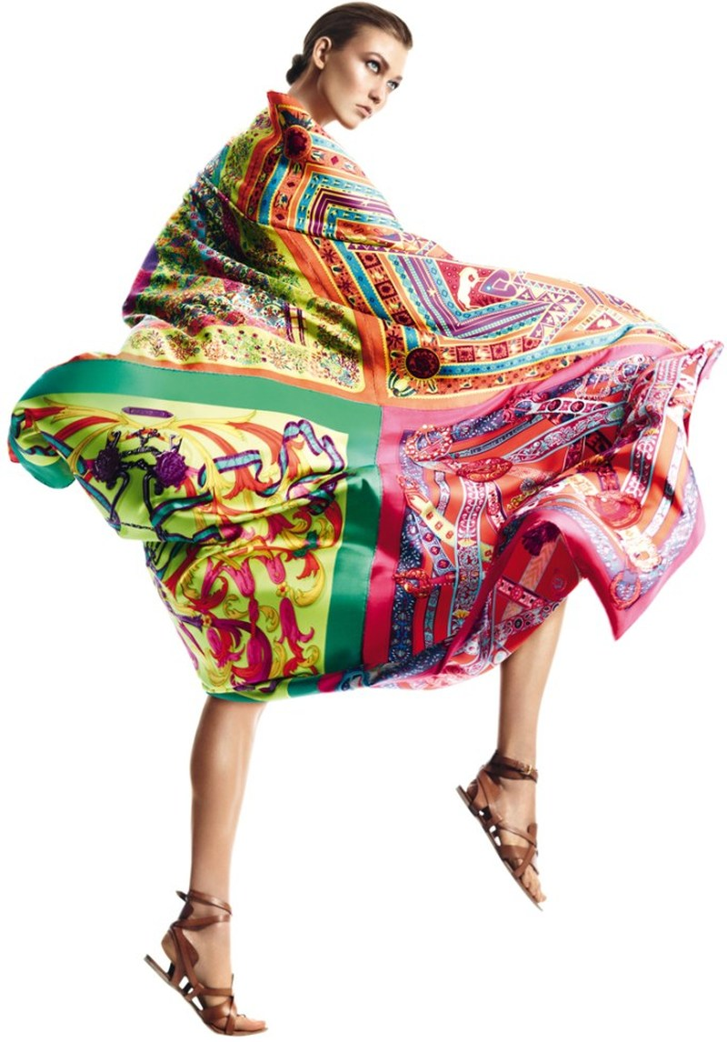 david sims hermes6 Karlie Kloss Gets Wrapped in Scarves for Hermès S/S 2013 Catalogue by David Sims