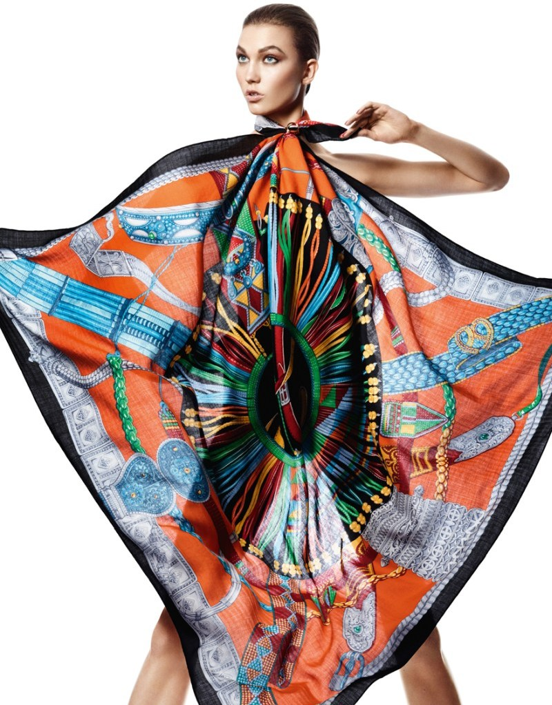 david sims hermes7 Karlie Kloss Gets Wrapped in Scarves for Hermès S/S 2013 Catalogue by David Sims