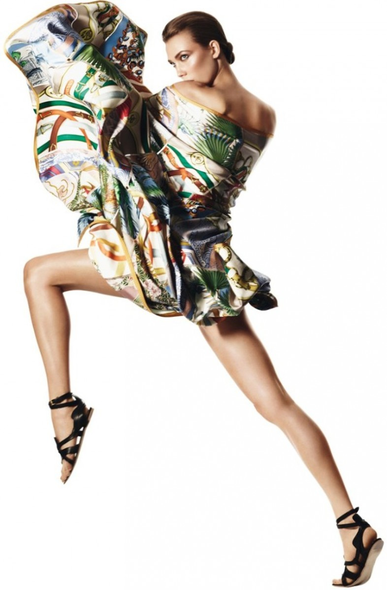 david sims hermes9 786x1200 Karlie Kloss Gets Wrapped in Scarves for Hermès S/S 2013 Catalogue by David Sims