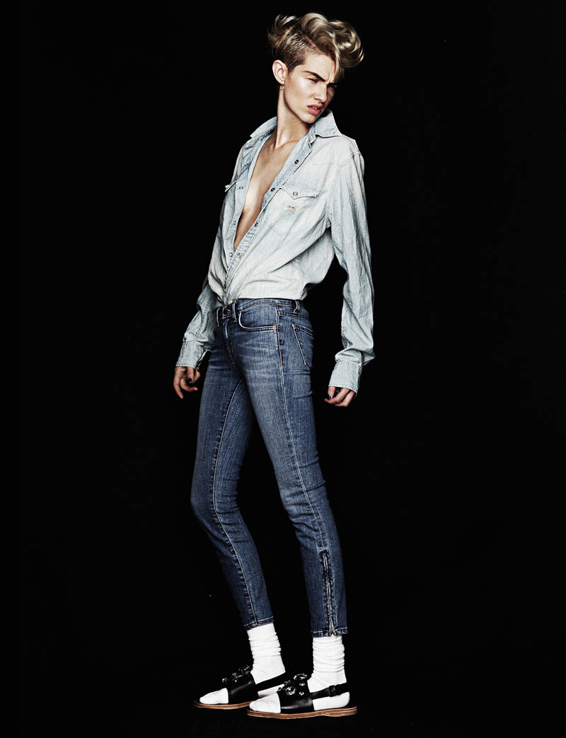 harmony boucher3 Harmony Boucher Gets Denim Clad for Hunger Magazine S/S 2013 by Toby Knott