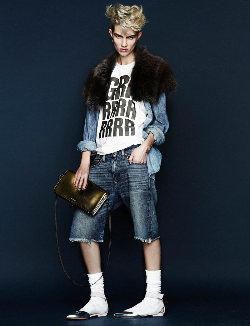 harmony boucher8 Harmony Boucher Gets Denim Clad for Hunger Magazine S/S 2013 by Toby Knott