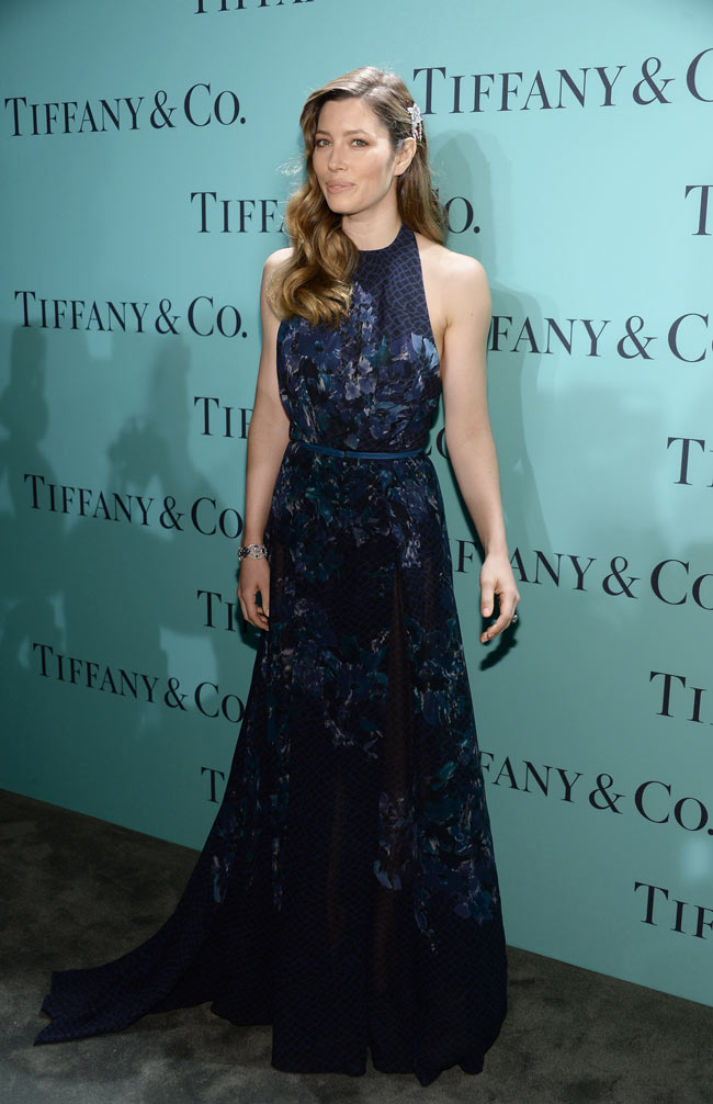jessica biel2 Jessica Biel Dons Elie Saab Florals at the Tiffany & Co. Blue Book Ball