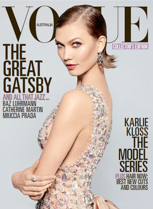 Karlie Kloss is 20s Glam in Prada for Vogue Australia's May 2013 Cover