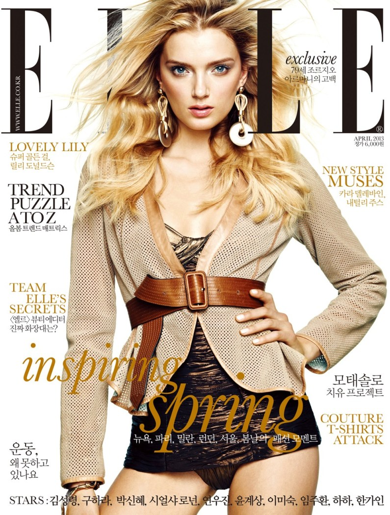 lily donaldson elle korea12 Lily Donaldson Rocks Emporio Armani for Elle Koreas April 2013 Cover Story