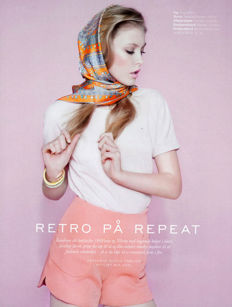 lucia elle denmark1 Lucia Jonova Wears Retro Florals for Elle Denmarks April 2013 Cover Shoot