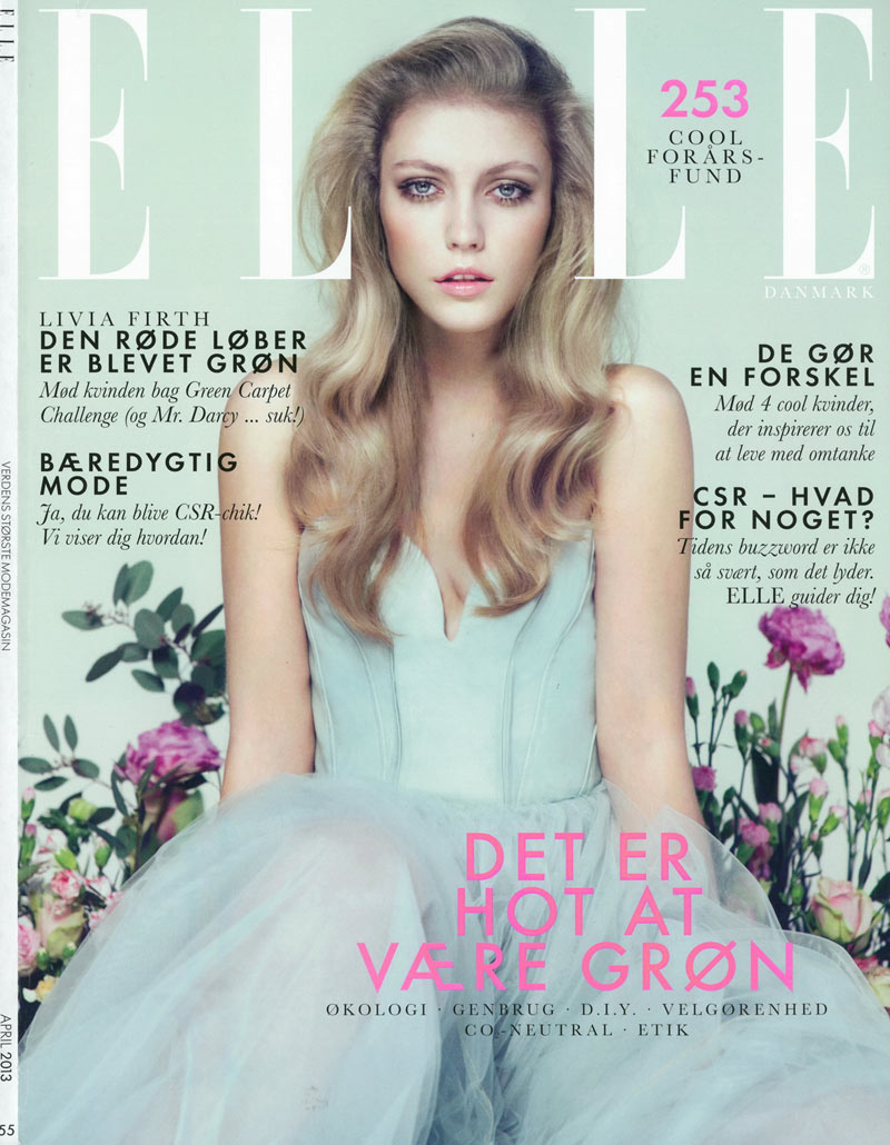 lucia elle denmark10 Lucia Jonova Wears Retro Florals for Elle Denmarks April 2013 Cover Shoot