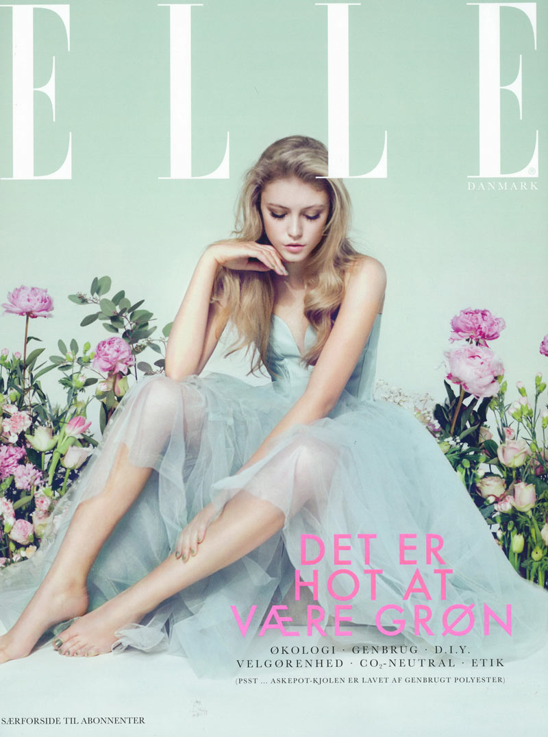 lucia elle denmark11 Lucia Jonova Wears Retro Florals for Elle Denmarks April 2013 Cover Shoot