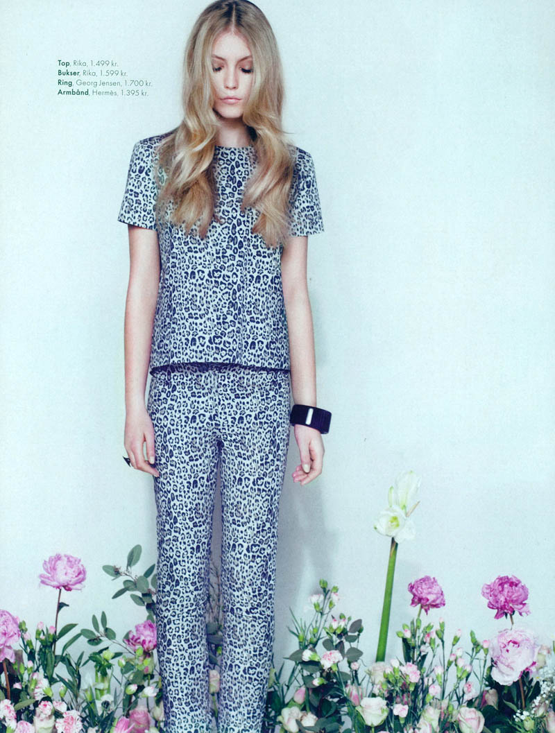 lucia elle denmark5 Lucia Jonova Wears Retro Florals for Elle Denmarks April 2013 Cover Shoot