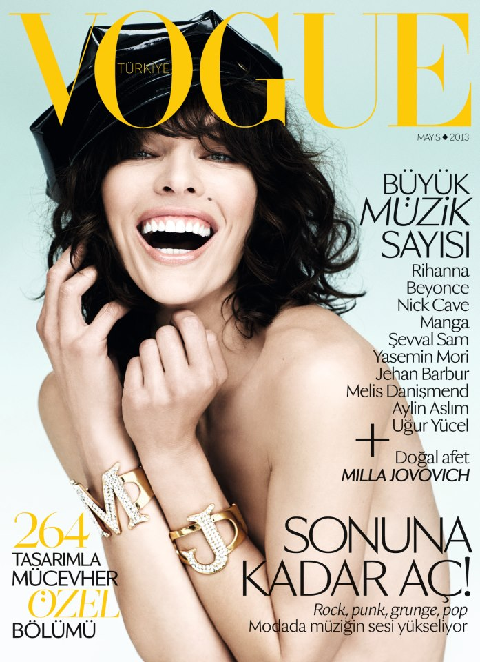 Milla Jovovich is All Smiles for Vogue Turkey's May 2013 Cover
