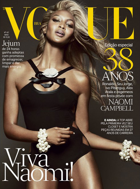 naomicover1 Naomi Campbell Goes Blonde for Vogue Brazils May 2013 Cover