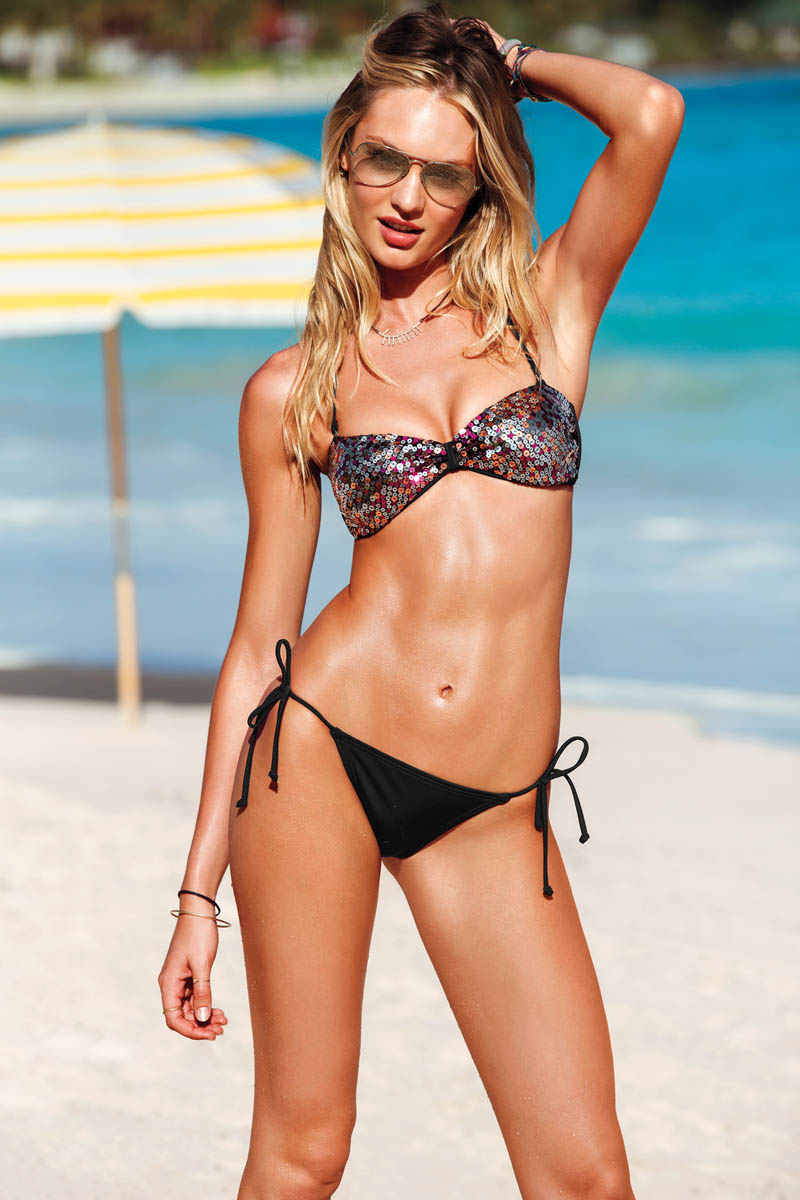 swim 3 2013 candice swanepoel beach sexy sequin bandeau bikini 2 victorias secret hi res Candice Swanepoel, Alessandra Ambrosio, Maryna Linchuk and Erin Heatherton Grace Victorias Secret Summer of Sexy Catalogue