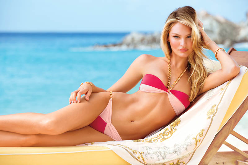 swim 3 2013 candice swanepoel very sexy chain link bandeau bikini 2 victorias secret hi res Candice Swanepoel, Alessandra Ambrosio, Maryna Linchuk and Erin Heatherton Grace Victorias Secret Summer of Sexy Catalogue