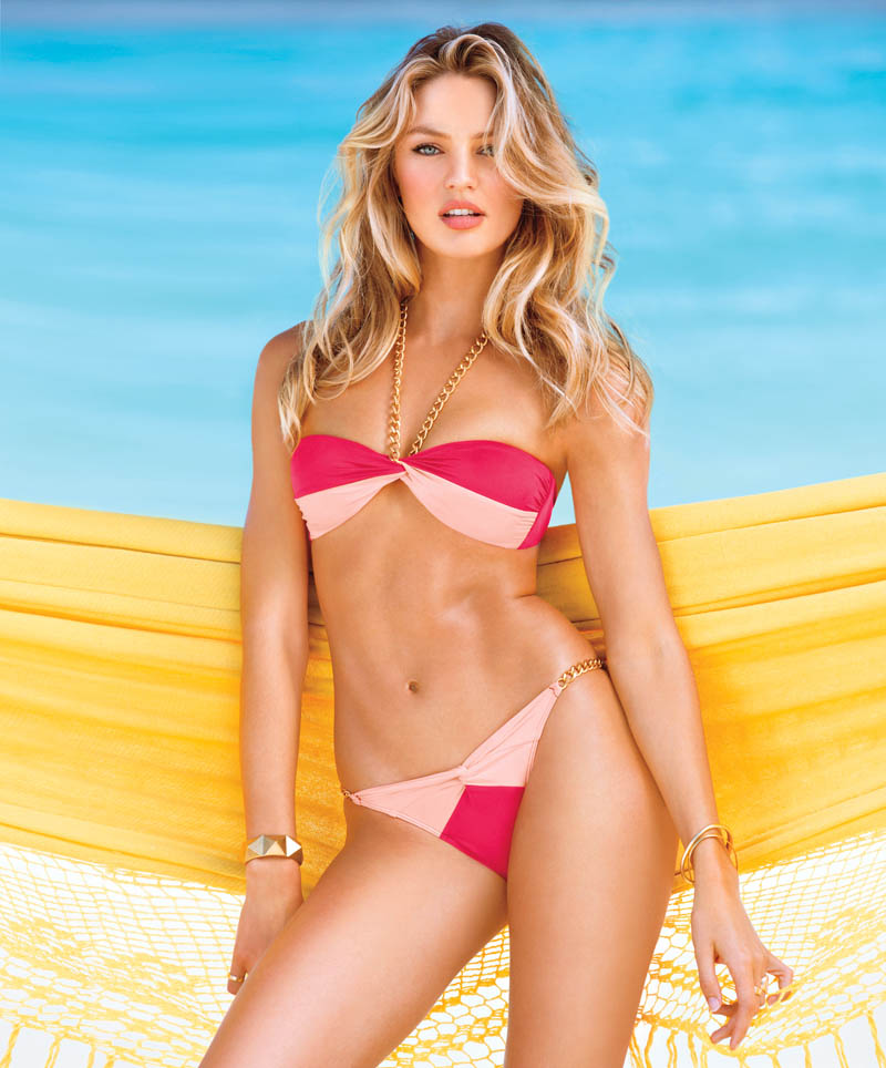 swim 3 2013 candice swanepoel very sexy chain link bandeau bikini victorias secret hi res Candice Swanepoel, Alessandra Ambrosio, Maryna Linchuk and Erin Heatherton Grace Victorias Secret Summer of Sexy Catalogue