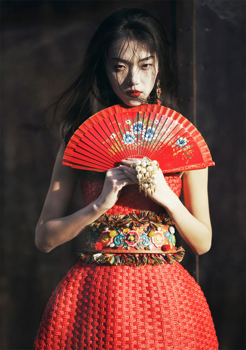 tian yi geisha10 Tian Yi is Geisha Glam for Elle Vietnams May 2013 Cover Shoot