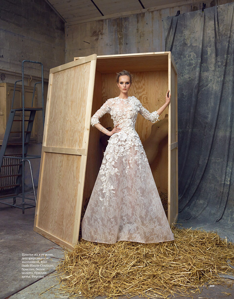 Iza Olak Dons Haute Couture for Elle Russia May 2013 by Åsa Tällgård